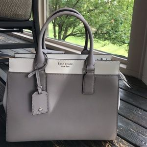 NWT gray and white kate spade cameron satchel